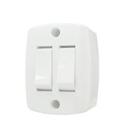 Interruptor Sobrepor Retangular 2 Teclas Simples 6A Branco Ilumi