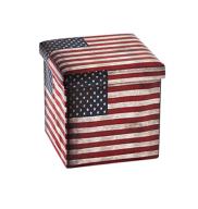 Banco / Caixa Desmontável Estofado Bandeira EUA 35x35x35 Cm Mek