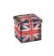 Banco / Caixa Desmontável Estofado Bandeira Inglaterra 35x35x35 Cm Mek