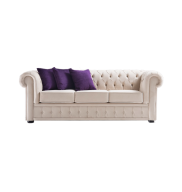 Sofá Chesterfield 3 Lugares Bege 75x280x91 Cm